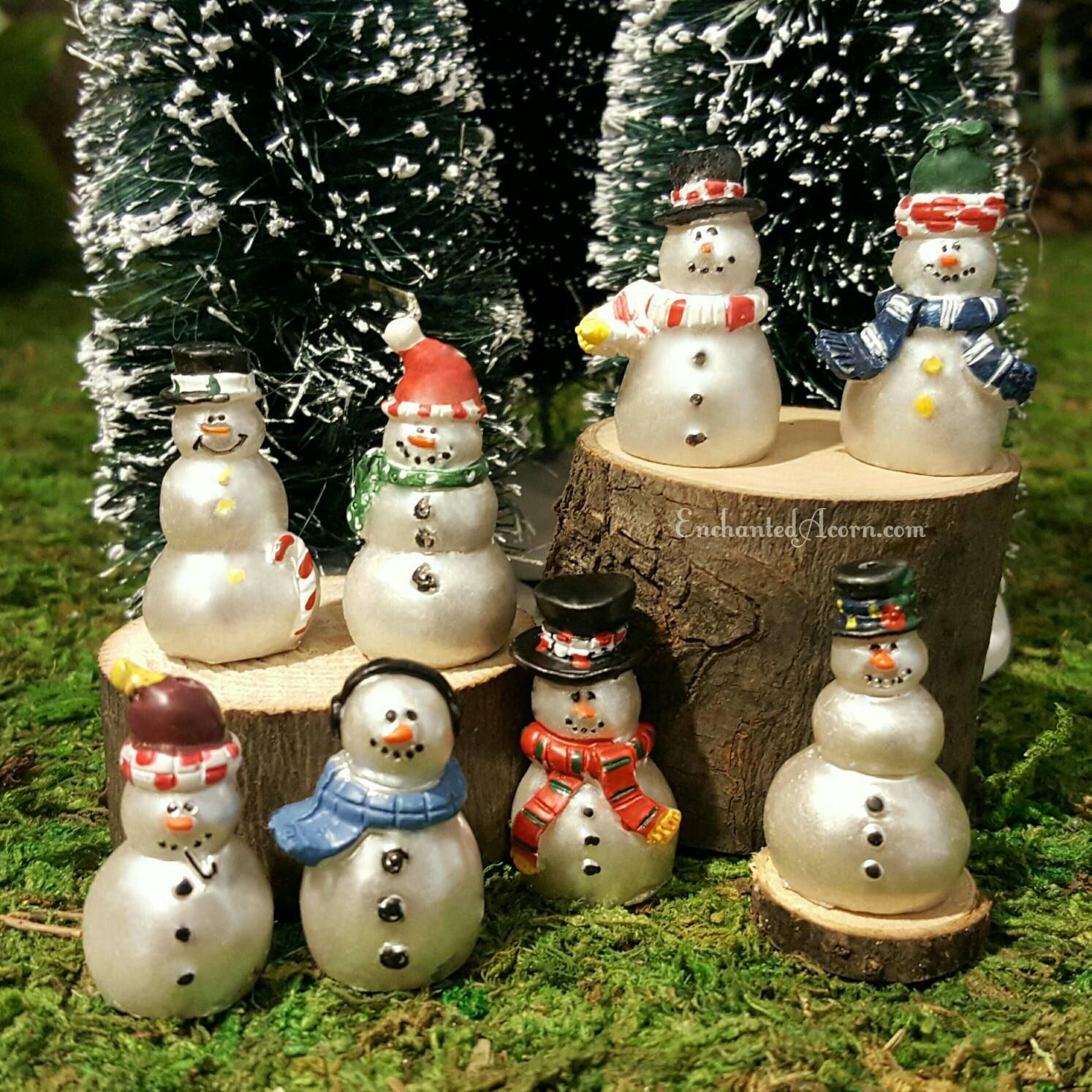 candycane snowman miniature wood slice frosty winter fairy