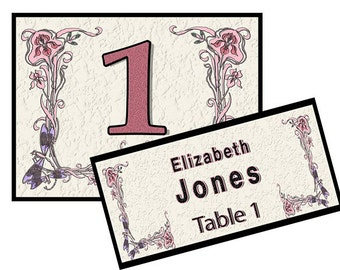 Wedding/Party Table number and name place for a table of 10, Mounted with easel back ready to display at Your Event, and Free Shipping