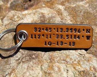 Longitude Latitude Leather Keychain Custom GPS Coordinates - Personalized - 3rd Anniversary Wedding Groomsmen Birthday Gift - Mens Womens