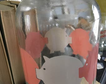 glass jar, canister, vintage cookie jar, pigs