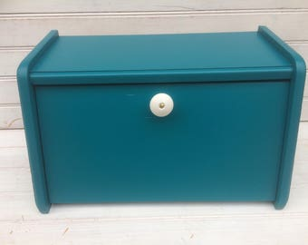 Bread Box, phone charging station, teal blue, iPhone Storage, iPod hidden storage, docking station, CB059