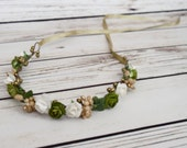 Handcrafted Green Gold White Flower Crown - Gold and Green Flower Crown - Medieval Flower Crown - Renaissance Headband - Adult Headband