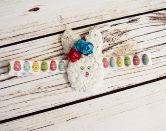 Handcrafted Easter Bunny Headband - Easter Egg Headband - Glitter Bows - Spring Headband - Newborn Easter Headband - First Easter Baby Bows