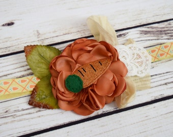 Handcrafted Easter Carrot Headband - Spring Garden Accessory - Orange Yellow Green - Carrot Bows - Glitter Headband - Vintage Style Easter