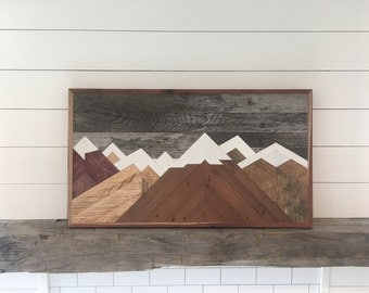 MOUNTAINS  ARE  CALLING  reclaimed  wood  art