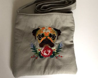 Grey Embroidered Pug Over The Shoulder Bag - Lined and with internal pocket - Made in Great Britain