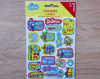 Dr. Seuss Stickers (3 Sheets of Stickers) 57 Stickers~  Cat In The Hat~  One Fish Two Fish~Hop On Pop~Horton