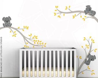 Koala Tree Branches Wall Decal by LittleLion Studio. Warm Gray, Yellow, Medium Gray, Charcoal