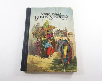 Young Folks Bible Stories Antique Illustrated Children's Book Hardcover