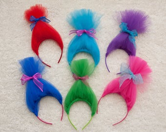 6, Troll Headbands, Troll Hair, Trolls, Troll Birthday, Troll Party Favor, Troll Birthday Party, Troll, Troll Party, Poppy, Troll Dress Up