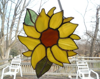 Sunflower Stain Glass Etsy Uk