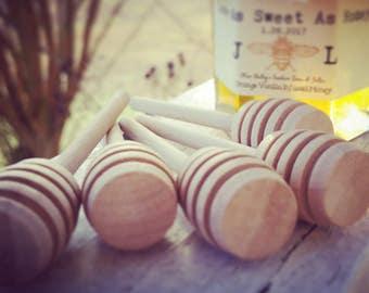 Honey Dipper Favors - Mini Honey Dippers - Individual Cello Bags - 3 1/4 inch Rustic Honey Dippers - Rustic Favors - Thank You Favor