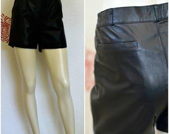Vintage Leather Shorts | Black Leather Shorts | 80s Shorts | Pleated Shorts | Short Leather Shorts | High Waisted Shorts | 1980s Fashion