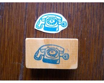 Hand carved stamp vintage telephone