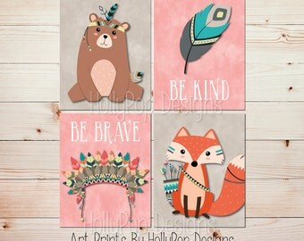 Woodland Nursery Prints Be Brave Be Kind Woodland