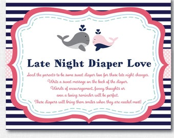 Girl Whale Baby Shower Diaper Love Activity - Baby Shower Activity - Whale Baby Shower - INSTANT DOWNLOAD