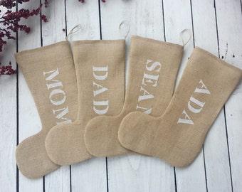 Burlap Christmas Stocking, personalized burlap stockings