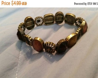 On Sale Earth Toned  and Brass Square/Flower Bead Stretchable Beaded Bracelet Costume Jewelry Fashion Accessory