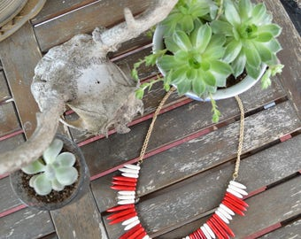 SALE White and Red Turquoise Stone Spike Statement Necklace