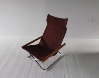 Mid Century Canvas NY Chair X by Takeshi Nii w/ Label