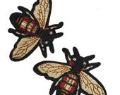 Embroidered Iron On Fly Patches Appliques, Insects Gucci Style Badges