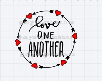 Love One Another Hearts and Arrows - SVG - Cricut - Silhouette - Cut File - Cutting Machine - Die Cut - Digital File