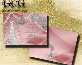 Diamond Wedding dress Invitation Bridal Shower Bling Wedding Gown Invitation Wedding Bridal Shower Invite Rhinestone Invitation Pink Silver