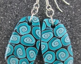 Blue Polymer Clay Cicada Drop Earrings-Swirl Series-Sub Aqua