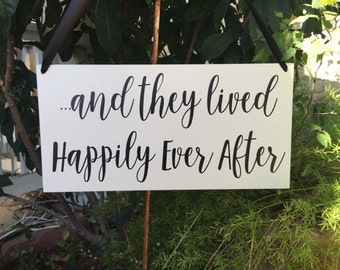 Custom for Caitlin   and they lived Happily Ever After   Wedding Photo Shoot   Ring Bearer sign   Flower girl sign   Disney Wedding Sign