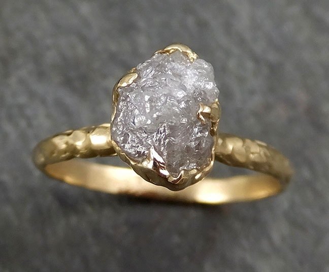 Raw Diamond Engagement Ring Rough Uncut Diamond Solitaire