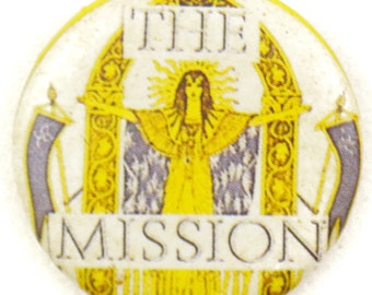 Vintage 80s The Mission Goth Rock Pinback Button Pin Badge