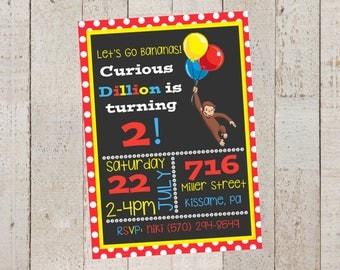 Curious George Birthday Invitations- Curious George Birthday- Birthday Invitations- Printable-Customize Birthday Invitations