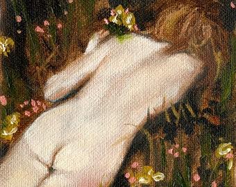 Tiny Nude II - Giclee Art Print, Nude Art, Figure Painting