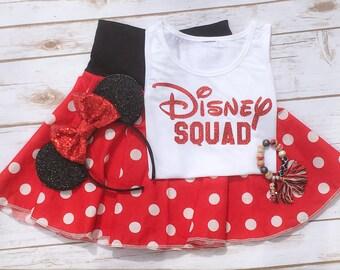 DISNEY SQUAD Sparkly Girls Ladies Kids Women Bodysuit Tank Top T Shirt Raglan - Any Color