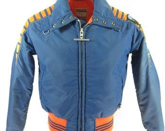 Vintage 60s Mighty Mac Ski Jacket Mens M Retro Neon Orange Blue Puffy Snowboard [H73Y_2-2]