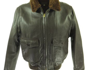 Vintage 80s Type G-1 Leather Jacket Mens 46 Deadstock Brown Flight Bomber [H74N_4-11_Leather]