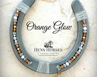 Horseshoe | Horseshoe Décor | Horse Décor | Orange Glow Swarovski Crystal Horseshoe | Lucky Horseshoe | Beaded Horseshoe | Horse Gifts