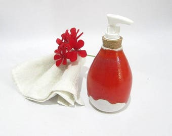 Soap Dispenser, Soap Pump, Lotion Pump, Bathroom Accessories, Red and White Handmade Pottery