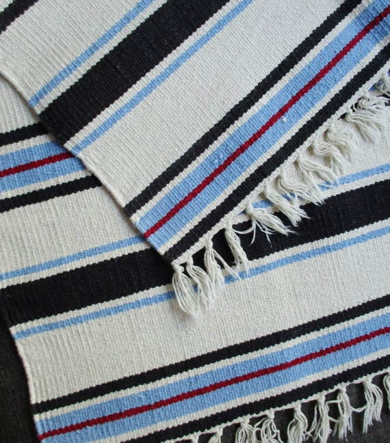 Blue And White Scandinavian Rug: Vintage Cotton Rug Hand Woven Carpet Striped White Blue