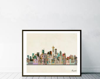 seattle city washington.seattle cityscape.seattle city skyline.colorful pop art skylines for home decor. Giclee art print.color your world