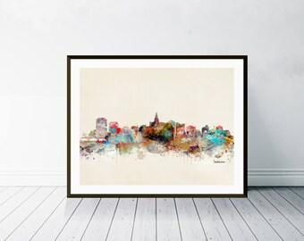 Saskatoon canada skyline . saskatoon city skyline .colorful pop art  city skylines in colorful watercolors.Giclee art print.color your world