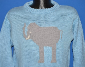 90s Elephant Hand Knit Pullover Sweater Medium