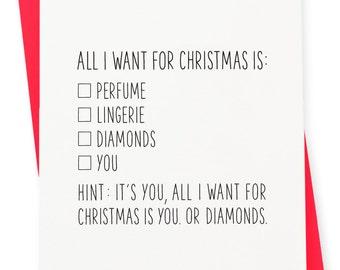 Holiday / Christmas Card - Diamonds Letterpress Card