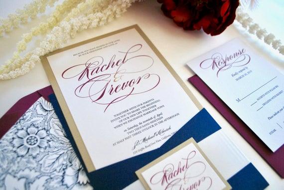 Navy Blue And Gold Wedding Invitations: Navy Blue Burgundy And Gold Pocket Wedding Invitation