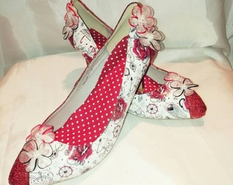 Tattoo print bespoke custom red glitter heels wedding party prom