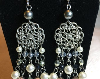 Silertone and beaded Chandelier Earrings