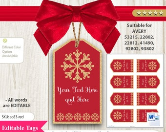 Snowflake Red Gold Tag for avery printable labels, 8 per sheet digital file. Happy holiday, gift tag editable,new year,2017 ao33
