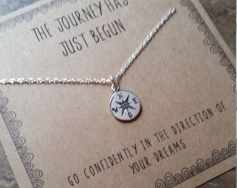 Tiny Compass Graduation Necklace . Graduation Gift . The Journey Has Just Begun Necklace  .  inspirational necklace