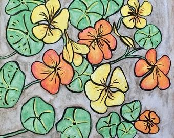 Nasturtiums Botanical Original Bohemian Art