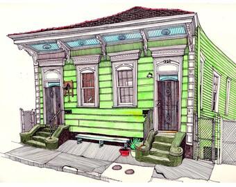 Giclee Print New Orleans Shotgun House